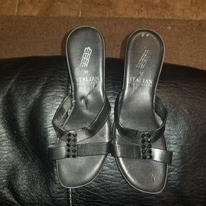Dressy sandals with shiny black embellishments